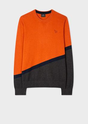 Men's Orange And Grey Cotton-Blend Zebra Sweater