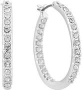 Gloria Vanderbilt Silver-Tone Large Pave Hoop Earrings