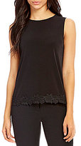 Kasper High Round Neck Sleeveless Lace-Hem Cami