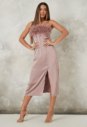 Missguided Mauve Feather Bust Slip Midaxi Dress