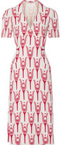 Miu Miu Printed Crepe De Chine Wrap Midi Dress - Red