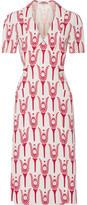 Miu Miu Printed Crepe De Chine Wrap Midi Dress - Red