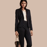 Burberry Peplum Back Wool Blend Jacket
