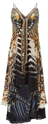 Camilla Lost Paradise Underwater-print Silk-crepe Dress - Womens - Black Multi