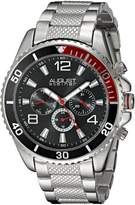 August Steiner Men's AS8119SSB Swiss Quartz Multifunction Black Dial Silver-Tone Bracelet Watch