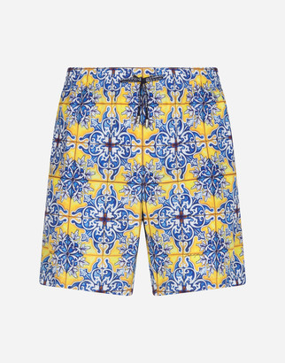 Dolce & Gabbana Medium Swimming Trunks With Maiolica Print On A Yellow Background
