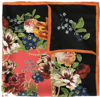 Dolce & Gabbana Floral-Print Logo Scarf