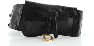 Christian Dior Saddle Double Buckle Belt Bag Leather