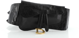Christian Dior Saddle Double Buckle Belt Bag Leather