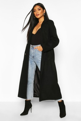 boohoo Longline Double Breasted Belted Wool Look Coat