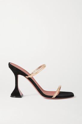 Amina Muaddi Henson Chain-embellished Suede Sandals - Black