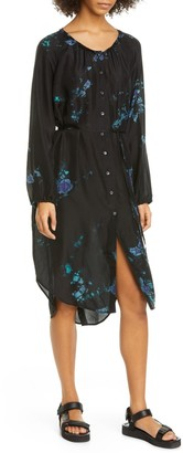Raquel Allegra Poet Dye Pattern Long Sleeve Silk Dress