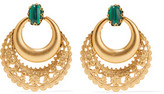Elizabeth Cole Portia 24-Karat Gold-Plated Malachite Earrings