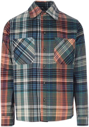 Off-White Stencil Flannel Check Shirt Blue Black