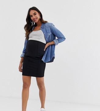 Mama Licious Mamalicious Maternity organic mini bodycon skirt in black