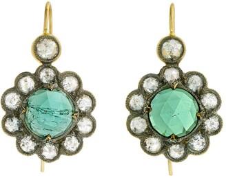 Cathy Waterman Green Tourmaline Lace Edge Yellow Gold Drop Earrings