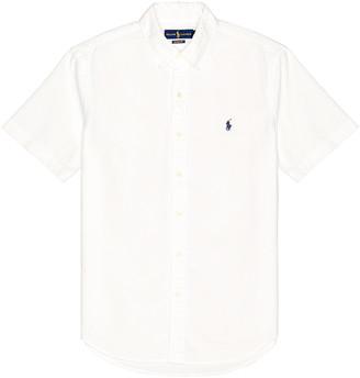 Polo Ralph Lauren Short Sleeve Oxford Shirt in White | FWRD