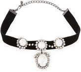 Kenneth Jay Lane Embellished Velvet Choker Necklace, Black/White