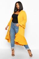 boohoo Plus Ruffle Hem Midi Kimono
