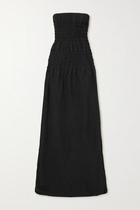CHRISTOPHER ESBER Strapless Shirred Poplin Maxi Dress - Black