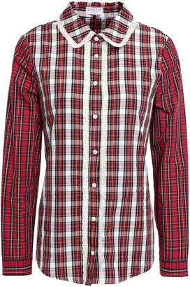 Claudie Pierlot Choose Lace-trimmed Checked Cotton-poplin Shirt