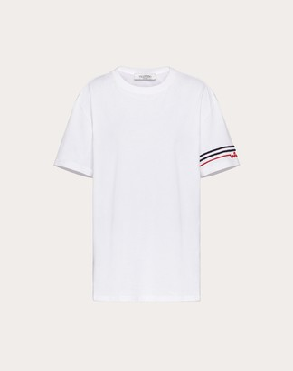 Valentino Signature Embroidered T-shirt Women White Cotton 100% M