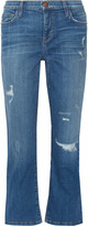 Current/Elliott The Kick distressed mid-rise flared jeans