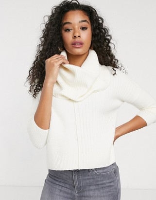 Miss Selfridge jumper with cowl neck in cream