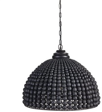 Bungalow Rose Telemanus 1 - Light Single Dome Pendant with Wrought Iron Accents