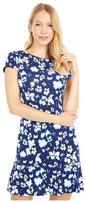 MICHAEL Michael Kors Poppy Flounce Seamed Dress (True Navy) Women's Dress