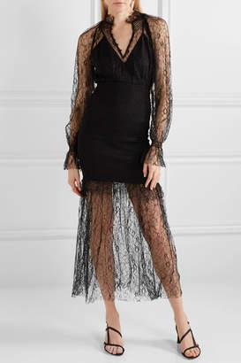 Alice McCall After Dark Shirred Corded Lace Midi Dress - Black