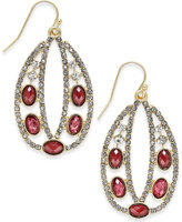 INC International Concepts Gold-Tone Red Stone Pavé Oval Drop Earrings, Only at Macy's