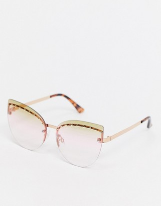 Jeepers Peepers x ASOS cat eye rimless sunglasses in gold with lens embellishment