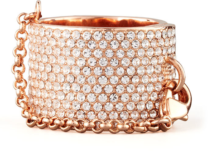 Eddie Borgo Pave Crystal Ring with Safety Chain