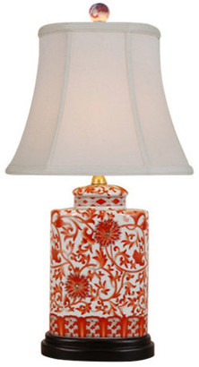 East Enterprises Inc Floral Vines Porcelain Table Lamp, Orange and White