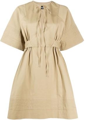 DSQUARED2 micro-pleated A-line safari dress