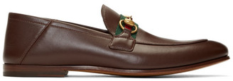 Gucci Brown Web Brixton Loafers