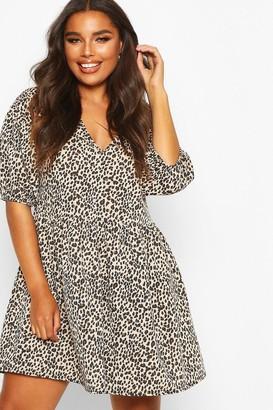 boohoo Plus Leopard Puff Sleeve Sweat Smock Dress