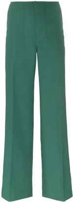Plan C Cady low waist wide leg tailored trousers