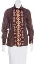 Tory Burch Embroidered Button-Up Top