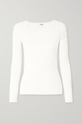 Loewe Asymmetric Ribbed-knit Sweater - White