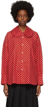 COMME DES GARÇONS GIRL Red Polka Dot Collar Shirt