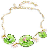 Oscar de la Renta Lily Pad and Pave Frog Statement Necklace