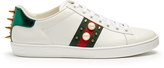 Gucci New Ace stud-embroidered leather trainers