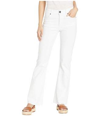 KUT from the Kloth Stella Flare Jeans w/ Raw Hem Welt in Optic White