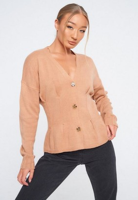 Missguided Stone Cinched Waist Knit Cardigan