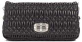 Miu Miu Crystal Embellished Matelasse Leather Shoulder Bag - Black