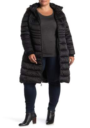 Kenneth Cole Faux Fur Trim Hooded Zip Front Puffer Jacket (Plus Size)