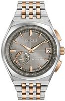 Citizen Cc3026-51h Satellite Wave World Time Gps Two Tone Bracelet Strap Watch, Silver/rose Gold