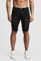 boohoo Mens Black Skinny Fit Long Distressed Denim Shorts, Black